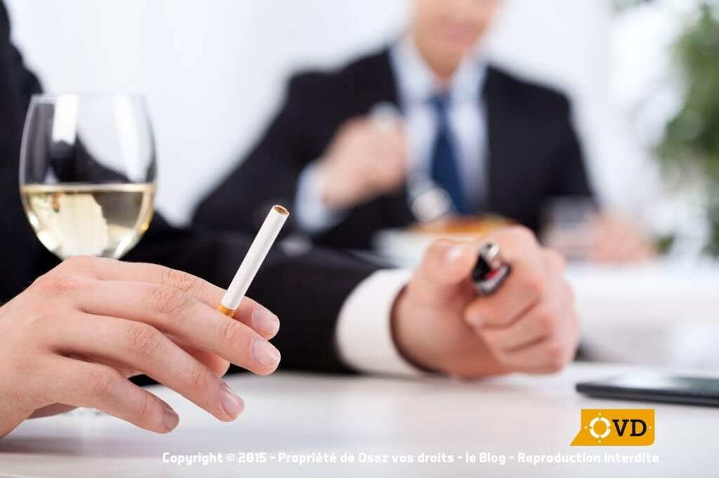 La cigarette et l'alcool sur son lieu de travail